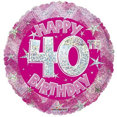 Pink Holographic Happy 40th Birthday Balloon - 18 inch