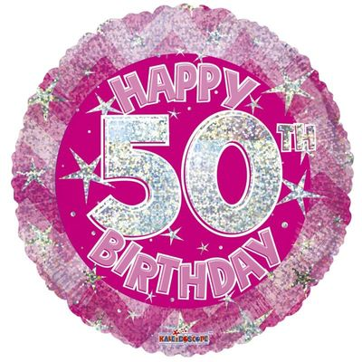 Pink Holographic Happy 50th Birthday Balloon - 18 inch