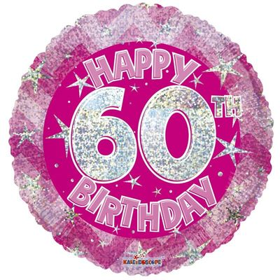 Pink Holographic Happy 60th Birthday Balloon - 18 inch