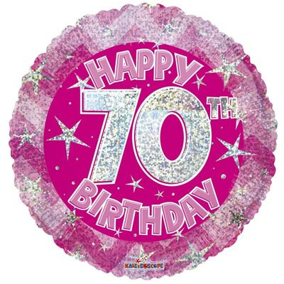 Pink Holographic Happy 70th Birthday Balloon - 18 inch