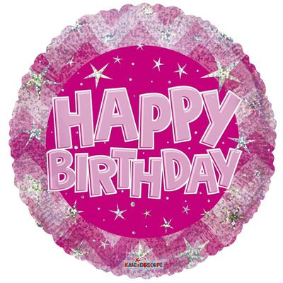 Pink Holographic Happy Birthday Balloon - 18 inch