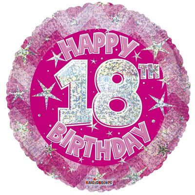 Pink Holographic Happy 18th Birthday Balloon - 18 inch