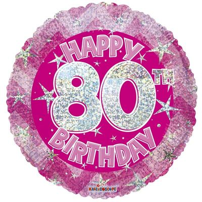 Pink Holographic Happy 80th Birthday Balloon - 18 inch