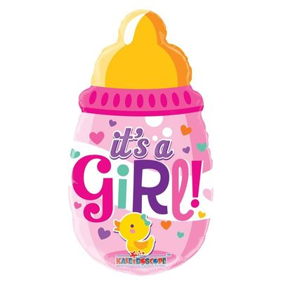 "14""  Baby Bottle Girl Packaged with Straw"