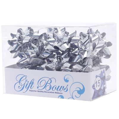 Metallic Silver Galaxy Bows (x15)