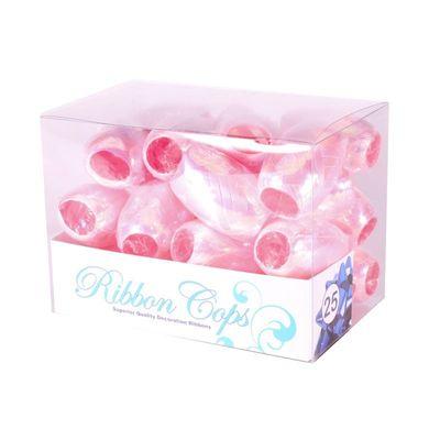 Iridescent Pink Ribbon Cops (x25)