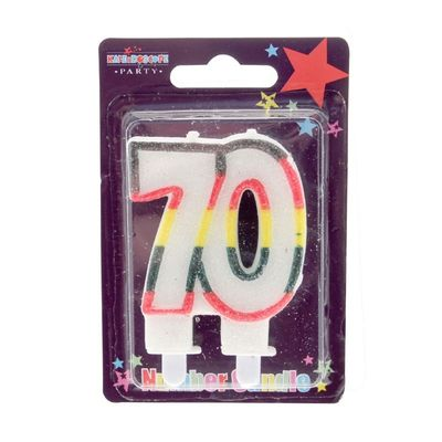 70 Double Age Candles Multicolour Pack of 6 (1/48)
