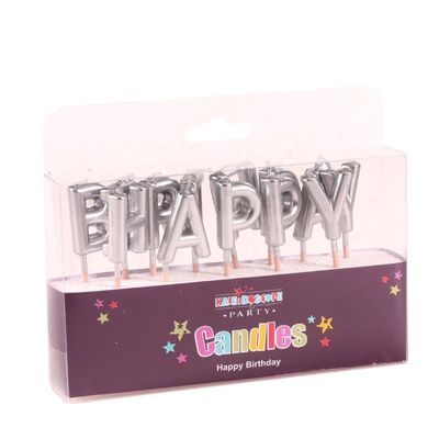 Happy Birthday Pick Candle- Metallic Silver -  Pack of 6 (48)