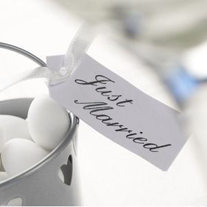 White Just Married Favours Tags