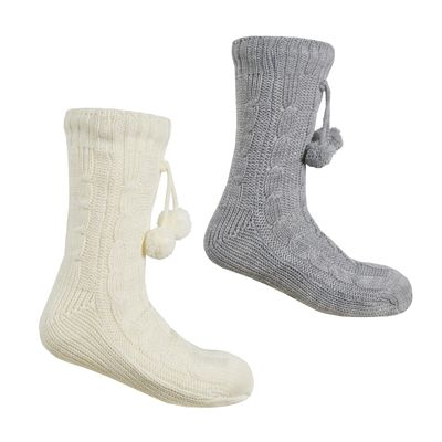 Ladies Cable Lounge Sock with Grippers