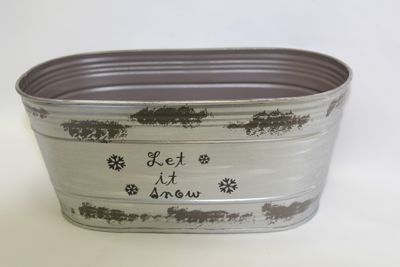 "25x13cm Silver Trough with Snowflakes and ""Let it Snow"""
