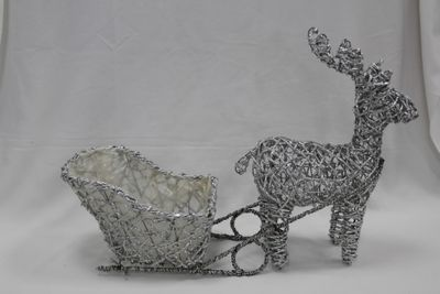 Silver Wire Reindeer Planter with Sleigh & Lights