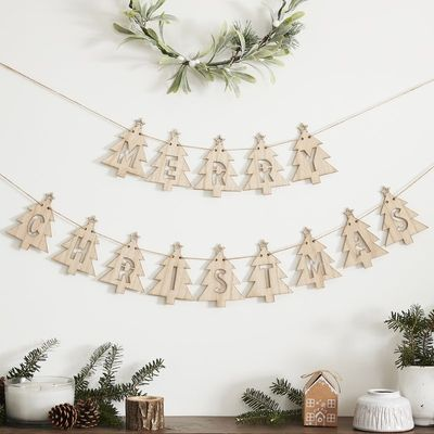 WOODEN TREE MERRY CHRISTMAS BUNTING DECORATION - LET IT SNOW
