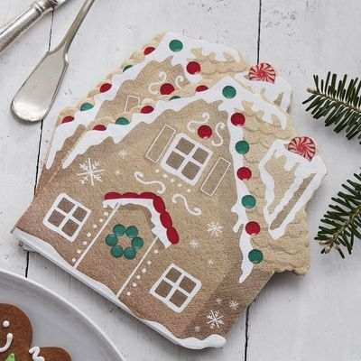 GINGERBREAD SHAPED PAPER NAPKINS - LET IT SNOW