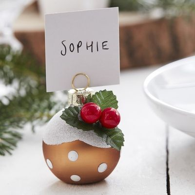 CHRISTMAS PUDDING CHRISTMAS BAUBLE PLACE CARD HOLDERS - LET IT SNOW