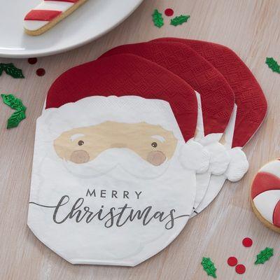 SANTA SHAPED CHRISTMAS PAPER NAPKINS - SILLY SANTA