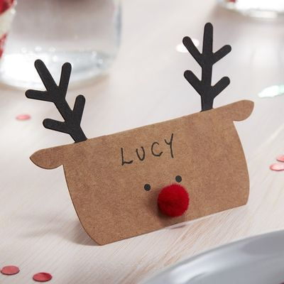 KRAFT REINDEER SHAPED CHRISTMAS PLACE CARDS - SILLY SANTA