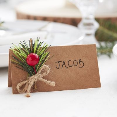 CHRISTMAS KRAFT PLACE CARDS WITH FOLIAGE - LET IT SNOW