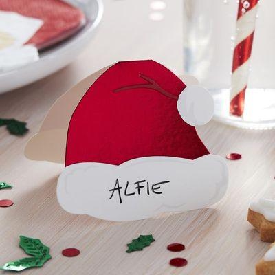 SANTA HAT CHRISTMAS PLACE CARDS - SILLY SANTA