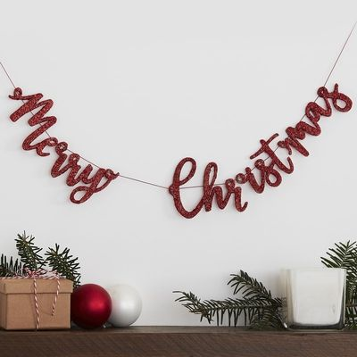 RED GLITTER MERRY CHRISTMAS WOODEN BUNTING DECORATION - SILLY SANTA