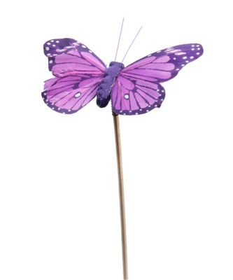 Bag x 12 Purple Butterfly on 50cm pick