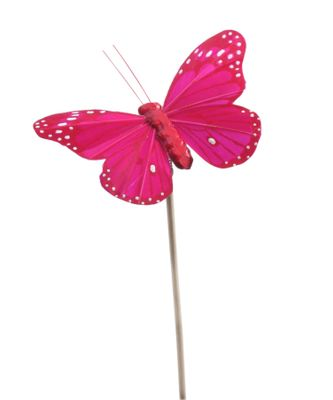 Bag of 12 Hot Pink Butterfly on 50cm pick