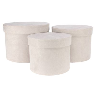 Grey Suede Hat Box (Set of 3) (Largest - D19 x H14.4cm)