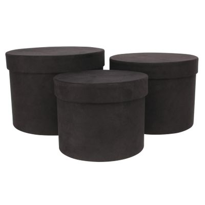 Black Suede Hat Box (Set of 3) (Largest - D19 x H14.4cm)