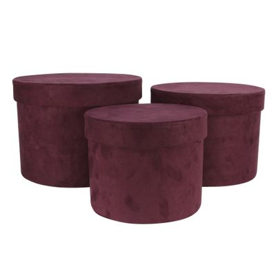 Plum Suede Hat Box (Set of 3) (Largest - D19 x H14.4cm)