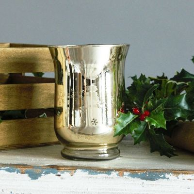 11x15cm Gold Glass Candle Holder