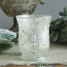 9x11cm Glass Votive W/Snowflake