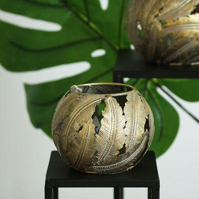 Tropical Leaf Round Candleholder (14cm)