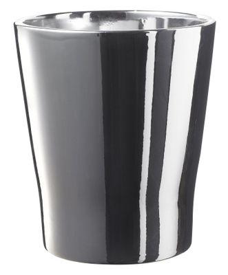Merina Silver Ceramic Pot Shiny Mirror Silver (14x15cm)