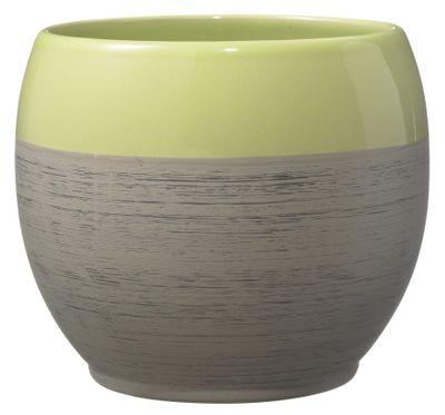Alberta Fashion Ceramic Pot 18cm shiny green-wood optics brown