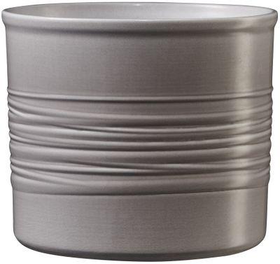 Laos 8cm Ceramic Pot - Horizontal Design - Warm-gray high-gloss