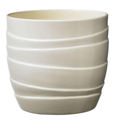 Barletta Ceramic Pot 19cm shiny vanilla