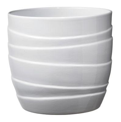 Barletta Ceramic Pot 19cm shiny white