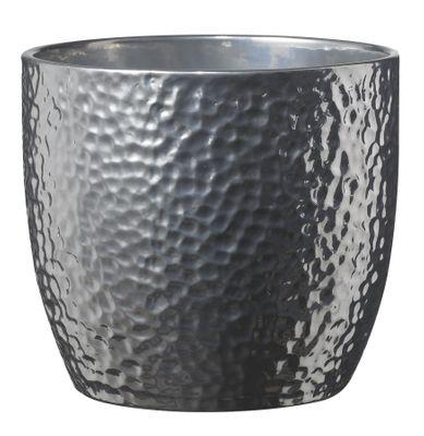 Boston Metallic Ceramic Pot 13cm shiny silver