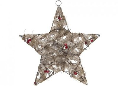 45cm Pre-Lit Jute Wrapped Xmas Star (Battery Operated)