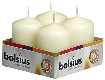 Bolsius Pillar candles Ivory, tray  4, 60/40 mm