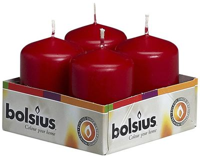 Bolsius Pillar candles Wine Red, tray  4, 60/40 mm