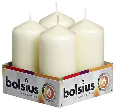 Bolsius Pillar candles Ivory, tray  4, 100/48 mm