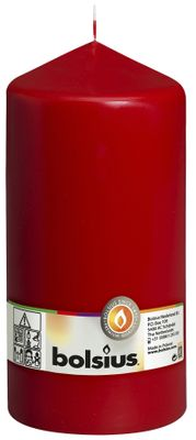 Bolsius Pillar candle Red, single in cello (200 mm x 98 mm)