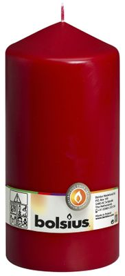 Bolsius Pillar candle Wine Red, single in cello (200 mm x 98 mm)