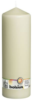 Bolsius Pillar candle Ivory, single in cello (300 mm x 98 mm)