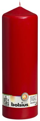 Bolsius Pillar candle Red, single in cello (300 mm x 98 mm)