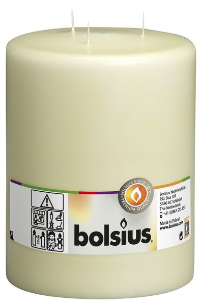 Bolsius 3-wick Mammoth Pillar Candle Ivory (200/150 mm)