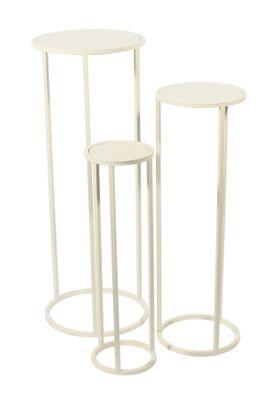 S/3 Round Cream Flower Stands (L)