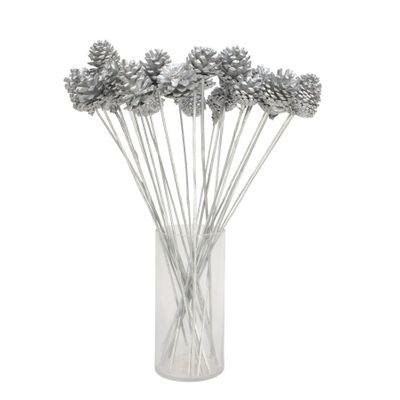 Silver pine cone pick on 50cm stem (x25 stems)