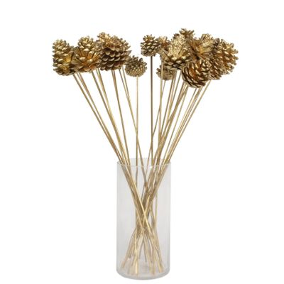 Bronze pine cone pick on 50cm stem (x25 Stems)